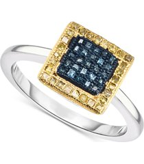blue & yellow diamond ring (1/3 ct. t.w.) in sterling silver