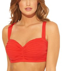 bleu rod beattie shirred underwire d-cup bikini top women's swimsuit