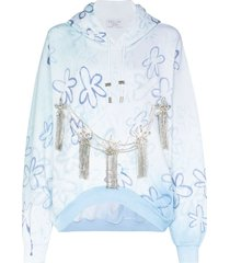 collina strada floral crystal accent hoodie - blue