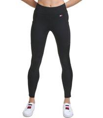 tommy hilfiger sport high-rise side pocket ribbed-inset full length leggings