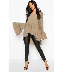 woven flared sleeve smock top, khaki