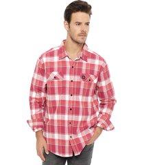 camisa franela oakley rojo - calce regular
