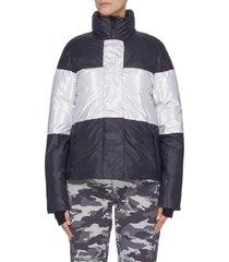 'lola' colourblock panelled high neck aluminium stripe performance jacket