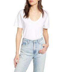 women's ag henson deep scoop cotton t-shirt, size x-small - white