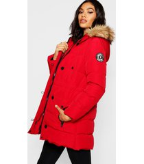 luxe mountaineering parka, red
