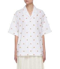 'la chemise jean' embroidered bead appliqué cotton shirt