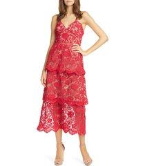 women's self-portrait floral lace tiered midi dress