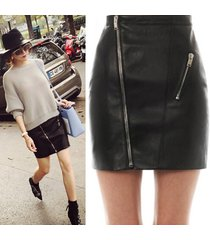 skirt for women pu leather high waist zipper short mini skirt elegant ladies