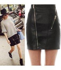 skirt for women pu leather high waist zipper short mini skirt elegant ladies