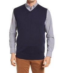 men's peter millar crown soft merino wool & silk sweater vest, size xx-large - blue