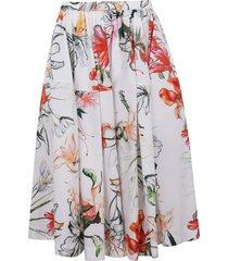 alexander mcqueen floral print flared skirt