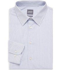 armani collezioni men's modern-fit plaid cotton dress shirt - plaid blue - size 17 43