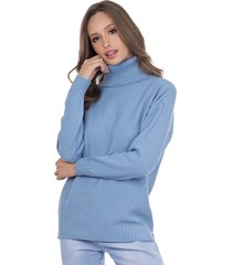 blusa myah lolla azul claro gola alta em tricô