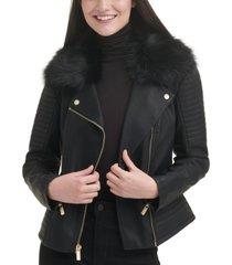 guess faux-leather faux-fur-trim moto coat