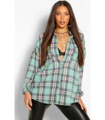lang oversized geblokt shirt, turquoise