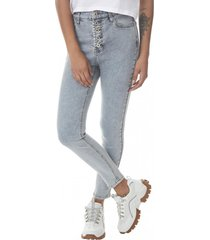 jeans skinny tiro alto botones mujer azul claro corona