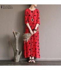 zanzea verano de las mujeres del lunar de playa corta de la manga señoras vestido flojo del vestido maxi kaftan -rojo