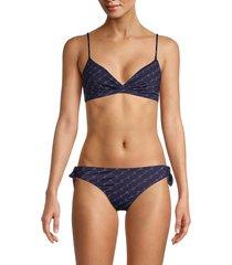 stella mccartney women's reggie seno printed bikini top - navy - size m