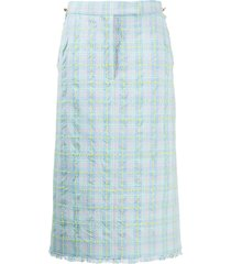 thom browne double tattersal seersucker tweed sack skirt - blue