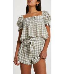 river island womens khaki tie waist gingham shorts