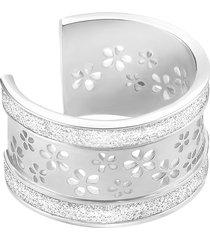 anello fiori in acciaio rodiato e lurex per donna