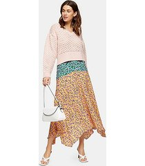 multi mixed floral print skirt - multi