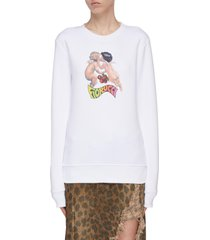 cherry cherub print sweater