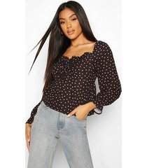 heart print blouse, black