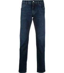 blue wash slim-fit stretch jeans with leopard print