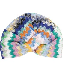 missoni mare embroidered wrap hat - blue
