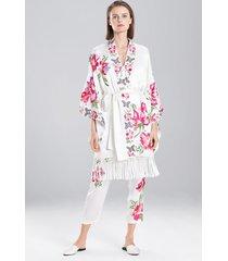 lily embroidery fringe kimono robe, women's, white, 100% silk, size l, josie natori