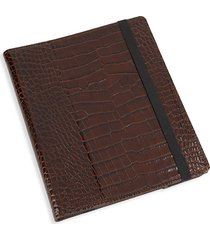 graphic image textured leather ipad case holder - brown