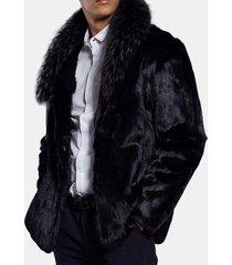 mens winter warm faux fur coat mid lunghezza giacca pesante spessa