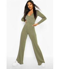 ribbed button detail wide leg jumpsuit, khaki