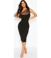 dobby mesh corset one shoulder midi dress, black