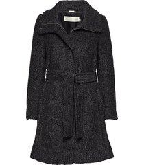 seola zip coat wollen jas lange jas zwart inwear