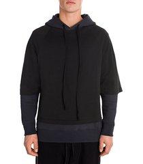 t-shirt layered hoodie