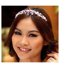 pearl and amethyst flower headband, 'lavender romance' (thailand)