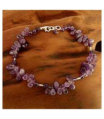 amethyst beaded anklet, 'mystic dancer' (india)