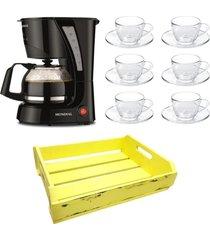 kit 1 cafeteira mondial 110v, 6 xícaras 90 ml com pires e 1 bandeja mdf amarela - tricae