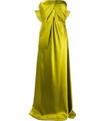 alberta ferretti bow detail long dress - green