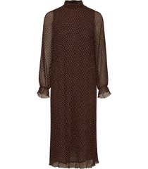 pleated georgette maxi dress galajurk bruin ganni