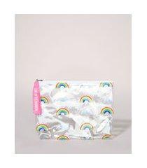 nécessaire feminina envelope estampada de arco iris com alça transparente