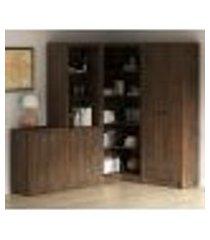 conjunto escritório completo 4 peças cj7 rustico tecno mobili