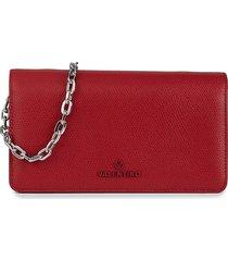 valentino by mario valentino women's sam palmellato leather chain wallet - red