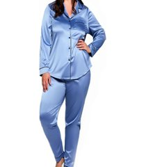 women's plus size notch collar pajama pant set