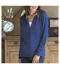 cotton blend hoodie, 'simple delight in royal blue' (peru)
