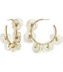 stella + ruby chiffon petal hoop earrings in glitter gold at nordstrom