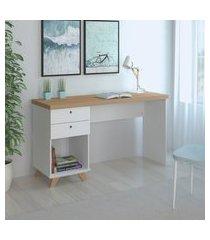 mesa para computador artany sky home office branco e olmo