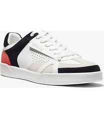 mk sneaker adrian in pelle color block - bianco ottico (bianco) - michael kors